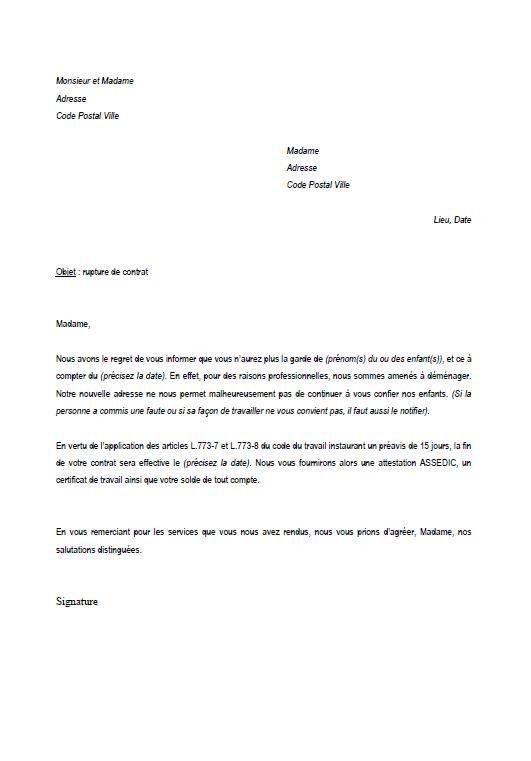 modele lettre de rupture de contrat assistante maternelle utiles contrat rupture de contrat modele lettre de rupture de contrat assistante maternelle