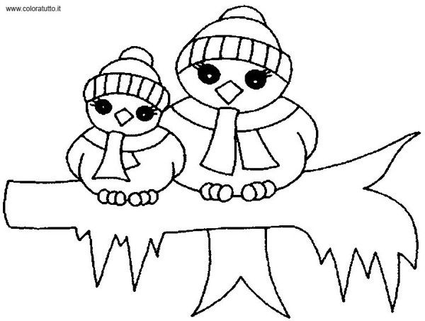 Coloriages hiver animaux - Coloriage hivers ...