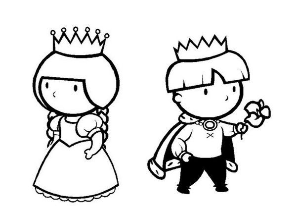 Coloriages piphanie roi et reine - Prince et princesse dessin ...