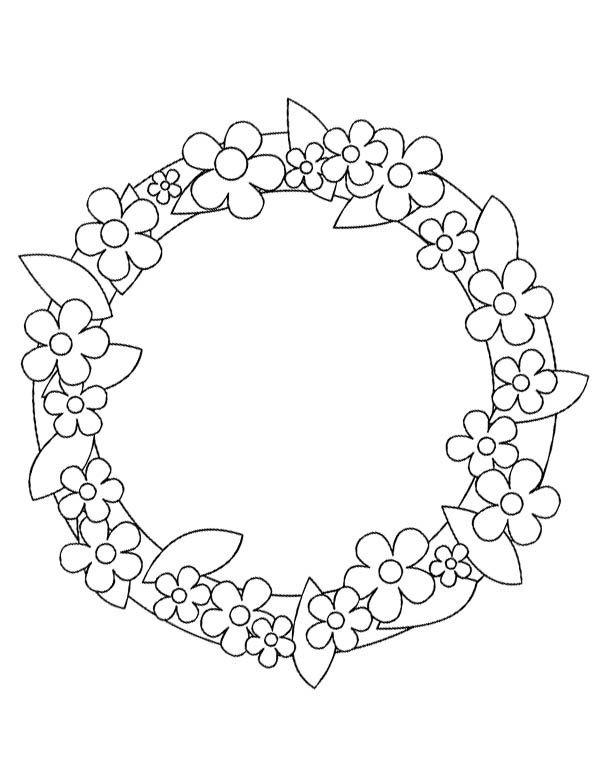 Coloriages fleurs couronne - Dessin de fleur en noir et blanc ...