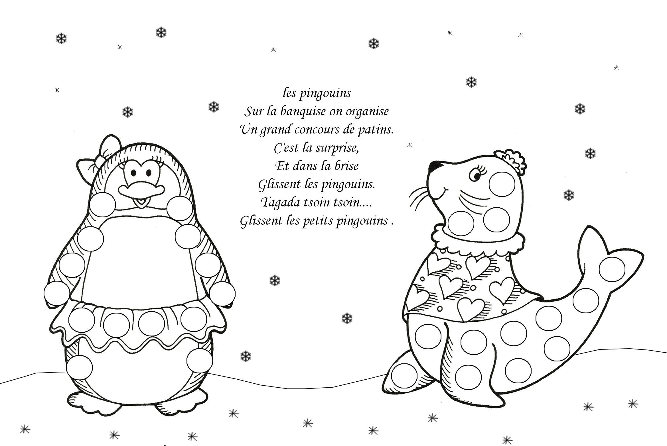 Coloriages gommettes hiver page 2 - Animaux pole nord ...